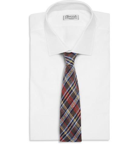 Drake'sSlim Check Melange Woven Tie