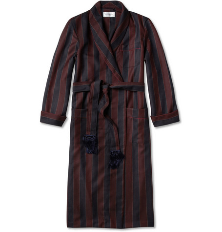 Derek Rose Striped Wool-Twill Dressing Gown