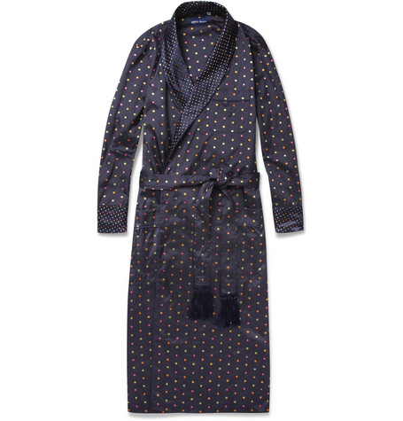 Derek Rose Embroidered Silk Dressing Gown
