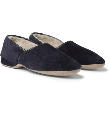 Naturally from Derek Rose Suede and Sheepskin Slippers