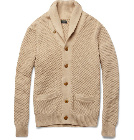 J.Crew Waffle-Knit Shawl-Collar Cotton Cardigan