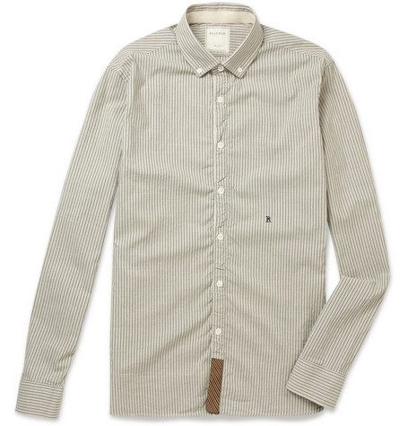 Billy Reid Button-Down Collar Striped Cotton Oxford Shirt