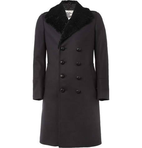 Burberry London Rabbit-Collar Wool-Blend Coat
