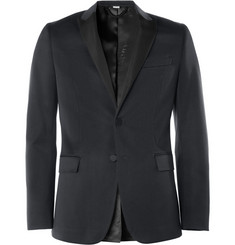 Burberry London Navy Wool and Cotton-Blend Tuxedo Jacket