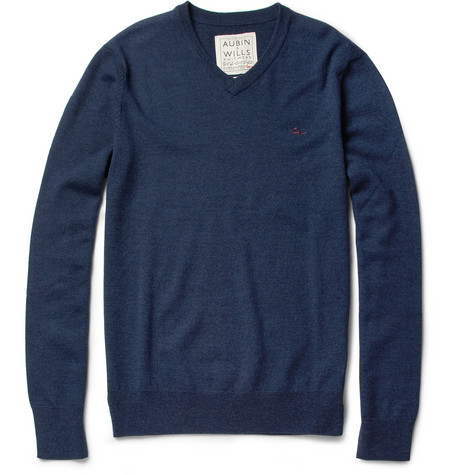 Aubin & Wills Redebrook Merino Wool V-Neck Sweater