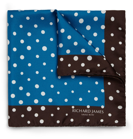 Richard James Polka-Dot Silk Pocket Square