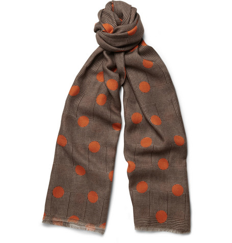 Richard James Polka-Dot Houndstooth Cashmere-Blend Scarf