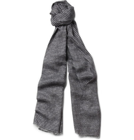 Richard James Houndstooth Cashmere and Silk-Blend Scarf