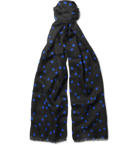 Richard James Polka Dot-Print Cashmere and Silk-Blend Scarf