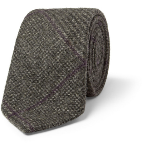 Richard James Check Woven-Cashmere Tie