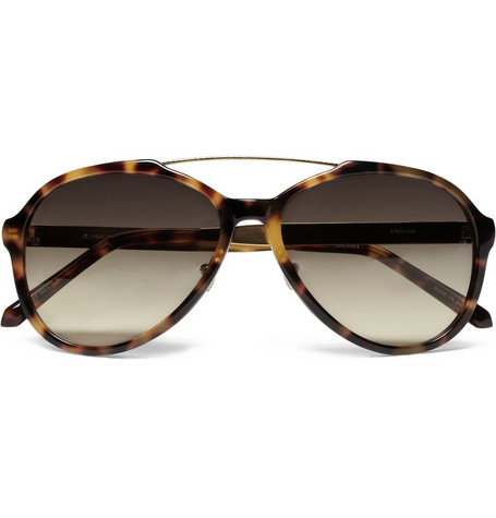 Linda Farrow Tortoishell Acetate Aviator Sunglasses
