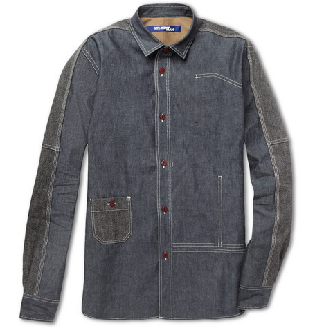 Junya Watanabe Panelled Slim-Fit Cotton-Chambray Shirt