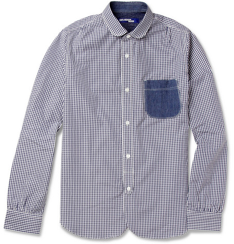 Junya Watanabe Gingham Check Cotton and Chambray Shirt