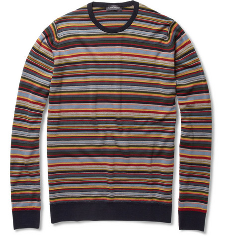 John Smedley Biker Striped Wool Sweater