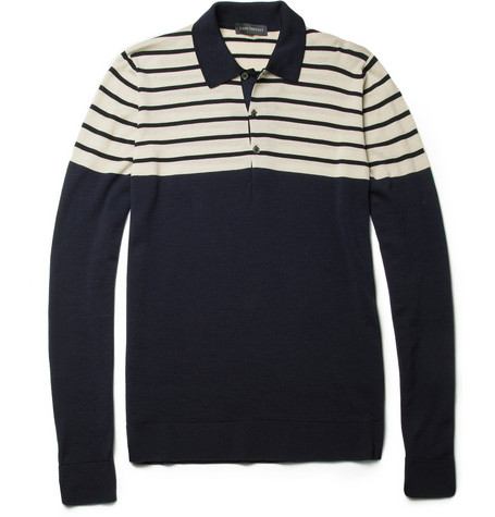 John Smedley Fischer Long-Sleeved Merino Wool Polo Shirt