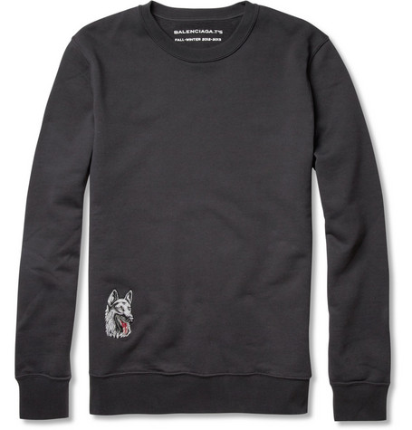 Balenciaga Dog-Patch Cotton-Jersey Sweatshirt