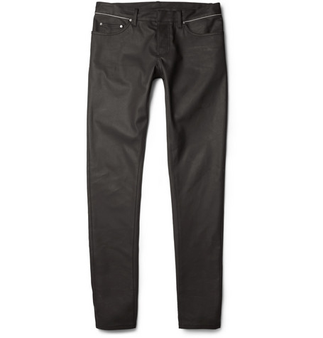 Balenciaga Slim-Fit Coated-Denim Jeans