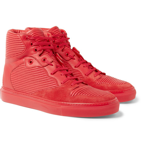 Balenciaga Cambure Panelled Leather High Top Sneakers
