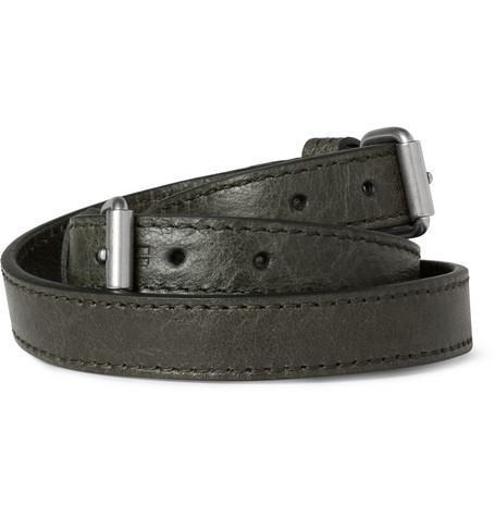 Balenciaga Creased-Leather Wrap Bracelet