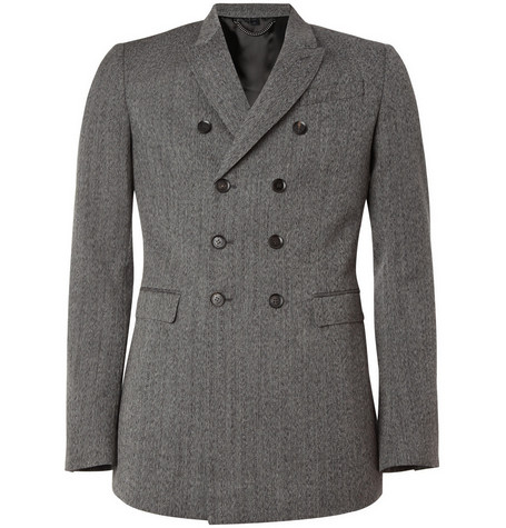 Burberry Prorsum Herringbone Worsted-Wool Blazer