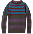 Burberry Prorsum Striped Knitted Wool-Blend Sweater