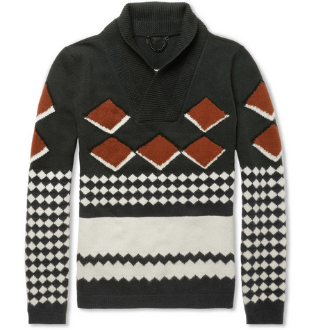 Burberry Prorsum Intarsia Shawl-Collar Cashmere Sweater
