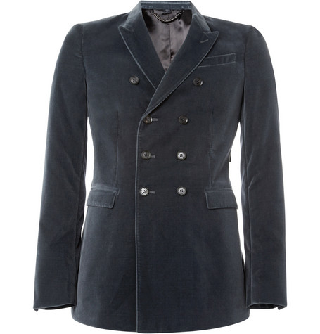 Burberry Prorsum Double-Breasted Velvet Blazer