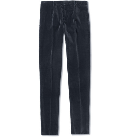 Burberry Prorsum Straight-Leg Velvet Trousers
