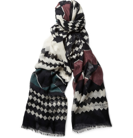 Burberry Prorsum Patterned Modal and Cashmere-Blend Scarf
