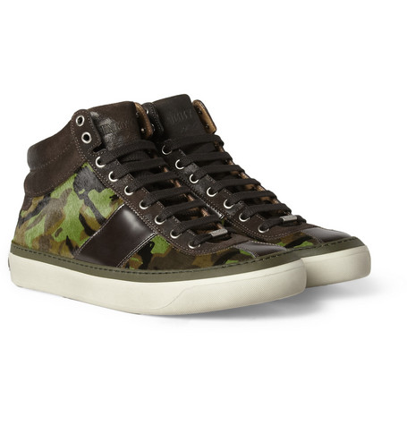 Jimmy Choo Belgravia Camouflage-Print Ponyskin High Top Sneakers