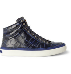 Jimmy Choo Belgravia Crocodile-Embossed Leather High Top Sneakers
