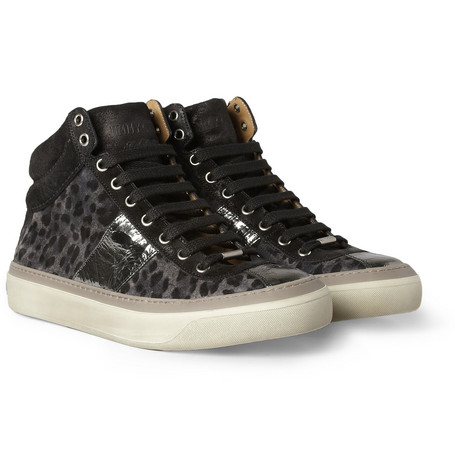 Jimmy Choo Belgravia Leopard-Print Suede High Top Sneakers