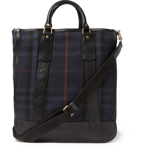 Burberry Shoes & Accessories Leather-Trimmed Plaid Tote Bag