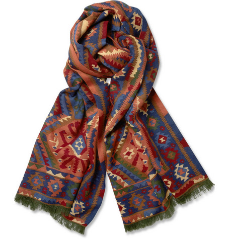 Drake's Kelim Printed Wool and Silk-Blend Scarf
