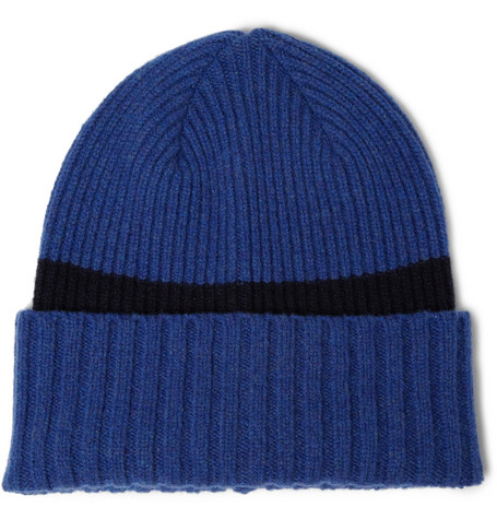 Drake's Two-Tone Ribbed Wool Beanie Hat
