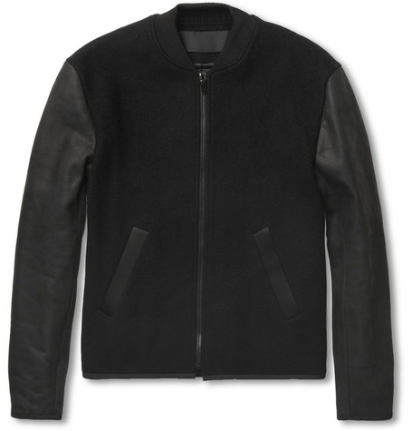 Alexander Wang Wool-Blend and Nubuck Bomber Jacket