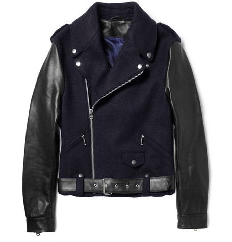 Acne Studios Cassady Leather-Sleeved Wool Biker Jacket
