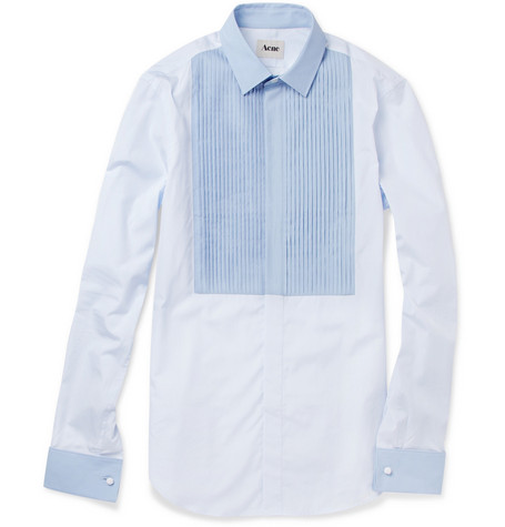 Acne Fitzgerald Pleated Bib-Front Tuxedo Shirt