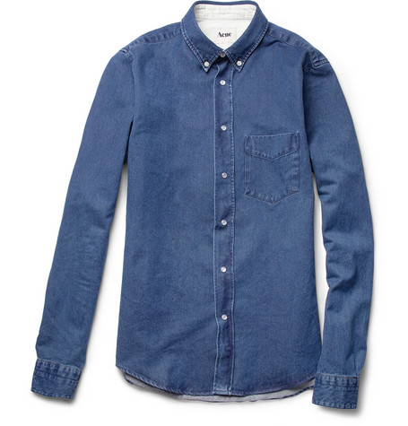 Acne Isherwood Button-Down Collar Denim Shirt