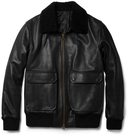 Ami Shearling-Collar Leather Bomber Jacket