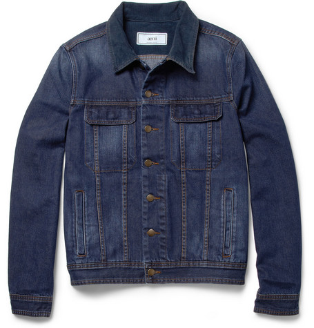 Ami Corduroy-Collar Washed-Denim Jacket