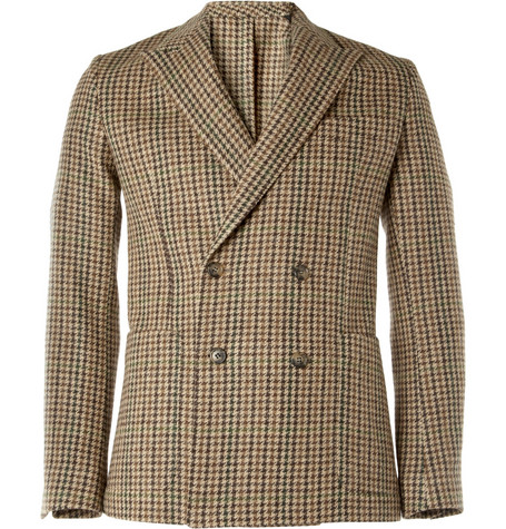 AMI Slim-Fit Wool Houndstooth Blazer