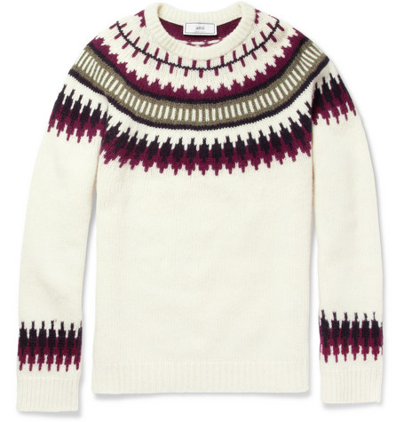 Ami Patterned Knitted Wool Sweater