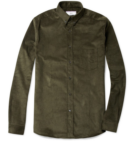 Ami Button-Down Collar Corduroy Shirt