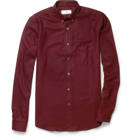AMI Slim-Fit Wool-Flannel Shirt