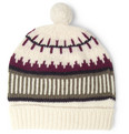 AMI Patterned Wool Beanie Bobble Hat