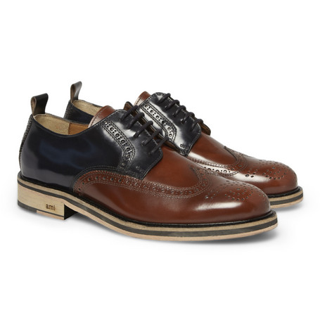 AMI Panelled High-Shine Leather Brogues