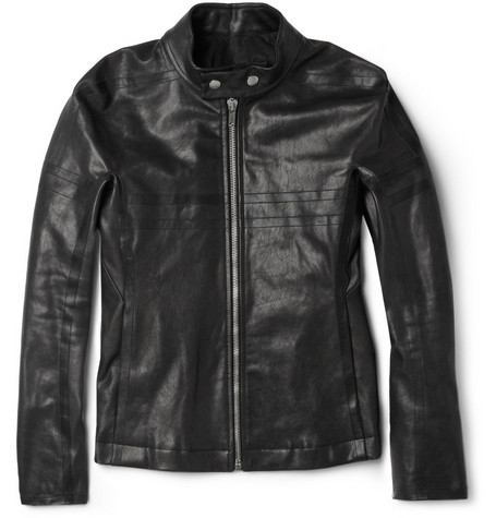 Rick Owens New Rover Striped Leather Jacket