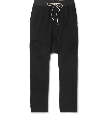 Rick Owens Drop-Crotch Cotton-Flannel Trousers