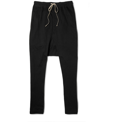 Rick Owens Drop-Crotch Jersey Trousers